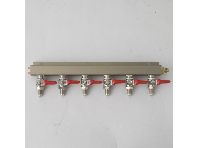 "CO2 Distributor 6-Way w/ 1/4"" MFL shutoffs"