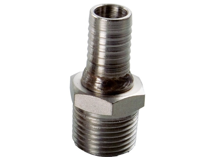 "Male Stainless 1/2"" NPT x 1/2"" Barb"