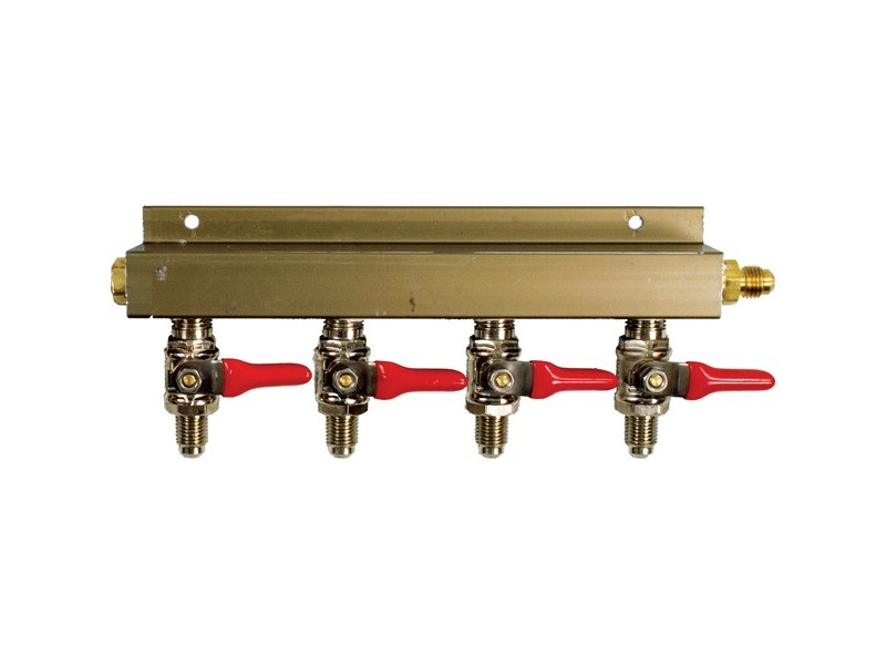 "CO2 Distributor 4-Way w/ 1/4"" MFL shutoffs"