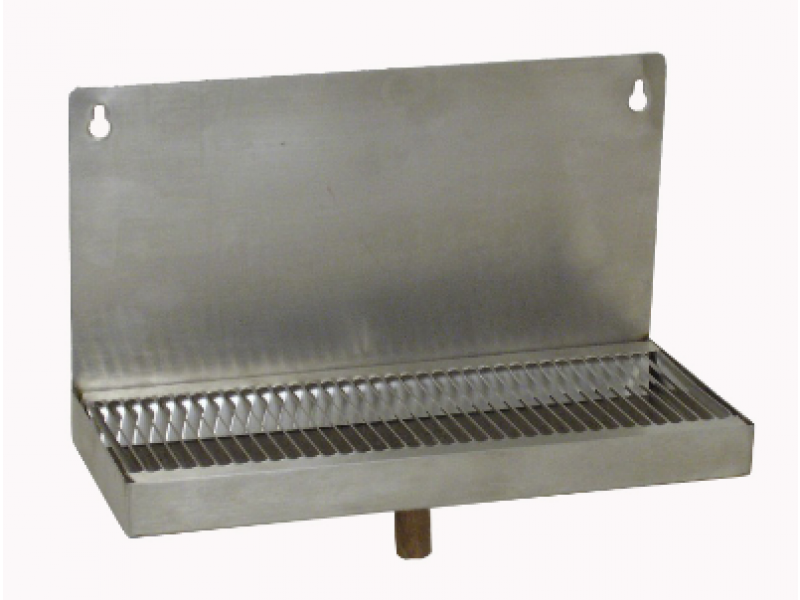 "Stainless Steel Mountable Drip Tray with Drain (12""L x 5""W- 6"" back splash)"