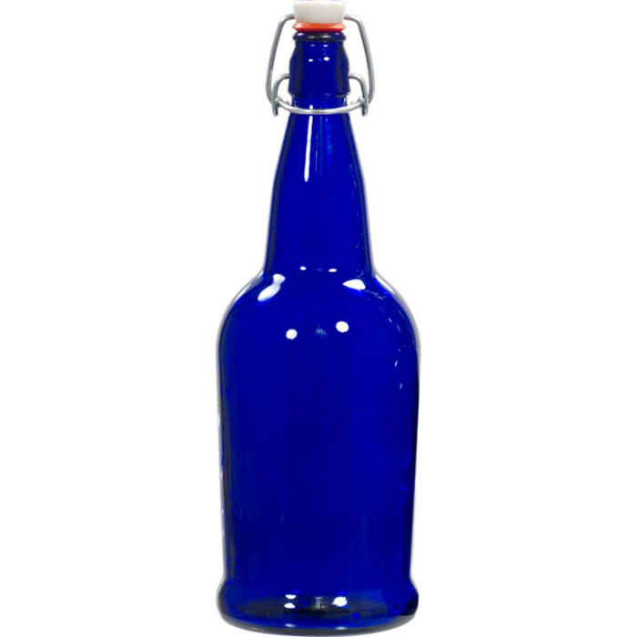 E.Z. Cap Bottles - 32 oz Cobalt Blue Swing Top (Qty 12)