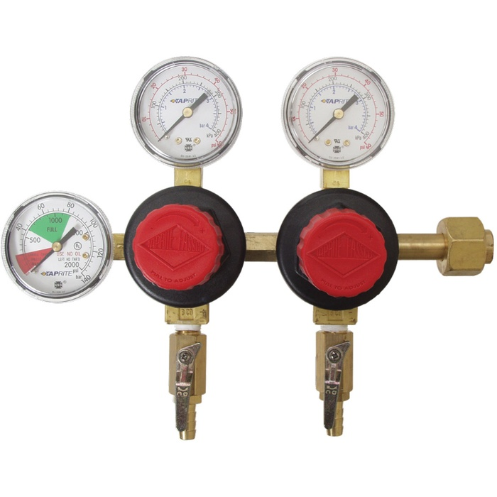 CO2 Regulator - Dual Body - Three Gauge