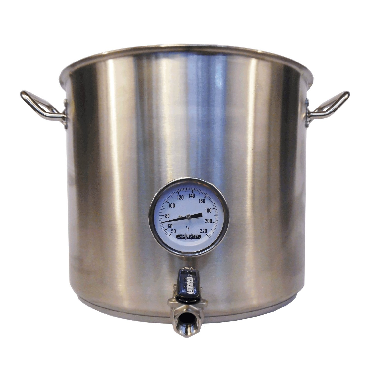 Stainless Steel Kettle with Welded Valve, Thermometer and Bazooka Screen (HomeBrewStuff) (32 QT) (8 gallon)